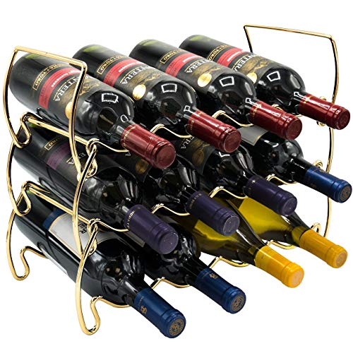 Sorbus 3-Tier Stackable Wine Rack - Classic Style Wine Racks for Bottles - Perfect for Bar, Wine Cellar, Basement, Cabinet, Pantry, etc - Hold 12 Bottles, Metal (Gold)