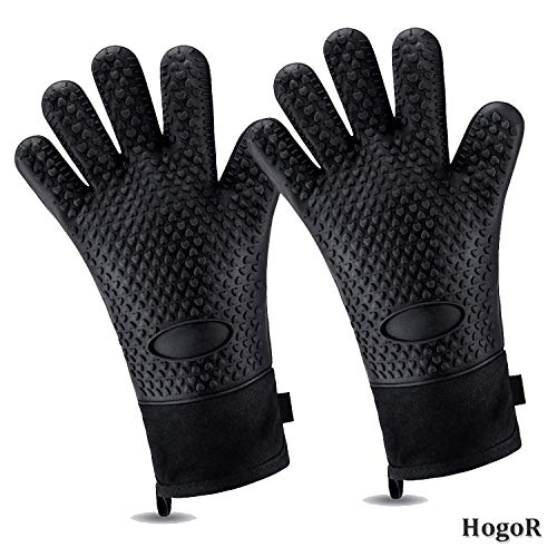 HogoR BBQ Grilling Gloves, Heat Resistant Oven Grill Mitts, Long Non-Slip Waterproof BBQ Mitt Accessories for Men and Women, Black Silicone Pot Holders for Barbecue, Cooking, Baking, Gifts