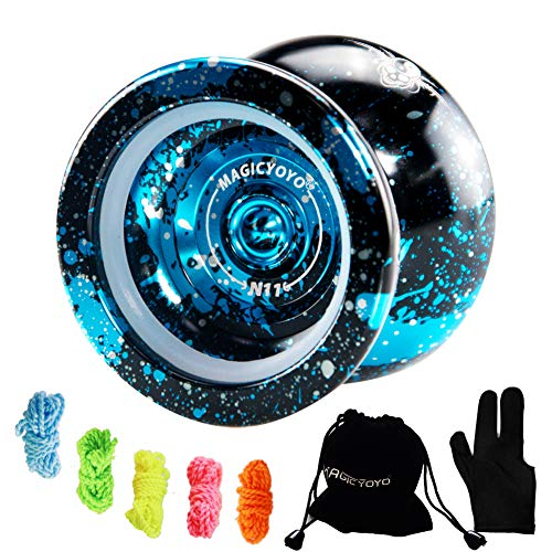 MAGICYOYO Unresponsive Yoyo N11 Plus, Professional Yoyo Alloy Aluminum Yoyo with Bag, Glove, 5 Yoyo Strings