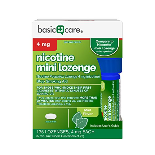 Amazon Basic Care Mini Nicotine Polacrilex Lozenge, 4 mg (nicotine), Stop Smoking Aid, Mint Flavor, 135 Count