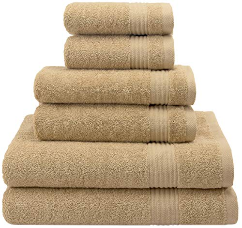 Hotel & Spa Quality, Absorbent and Soft Decorative Kitchen and Bathroom Sets, Cotton, 6 Piece Turkish Towel Set, Includes 2 Bath Towels, 2 Hand Towels, 2 Washcloths, Sand Taupe