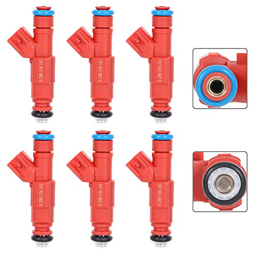 12 Holes PARTHIGH Injectors, 0280156161 6pcs Fuel Injector Parts for Dodge Dakota for Ram 1500 Van/ 2500 Van,for Ford Escape Mustang Windstar,for Jeep for Cherokee Grand Cherokee Liberty Wrangler