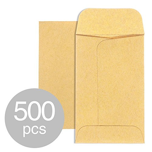 Acko #1 Coin and Small Parts Envelopes 2-1/4 x 3-1/2 Brown Kraft Envelopes with Gummed Flap for Home or Office or Garden Use