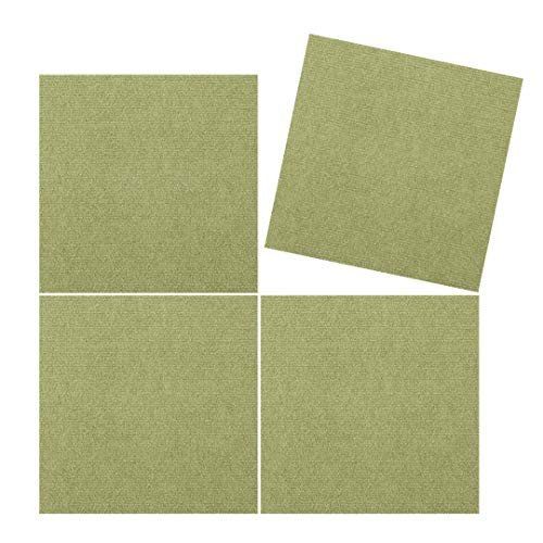 TRILUC Peel and Stick Carpet Tile Squares – Machine Washable, Non-Slip, Water Repellent Tile Mats – 12 x 12 x .13 - Pack of 4, Light Green