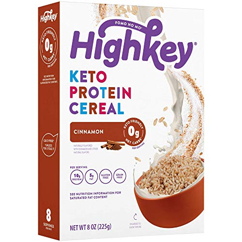 HighKey Keto Snacks - Protein Breakfast Cereal - 0 Net Carb & Zero Sugar, Grain & Gluten Free Cereals Snack Food - Paleo, Diabetic, Ketogenic Diet Friendly - Non GMO - Healthy Grocery Foods - Cinnamon