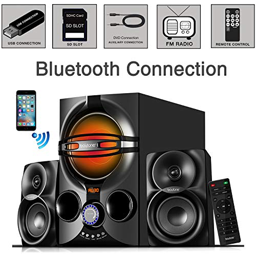 Boytone BT-424FN, 2.1 Multimedia Bluetooth Speaker System Powerful Shelf Stereo Wired Systems, FM, SD Slot, USB Port, MP3 Format, 40 Watts, Reactive LED Light, Remote Control, for Smartphone, Tablet