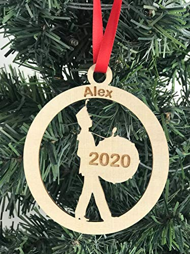 Custom engraved wood marching band bass drum ornament with name and year
