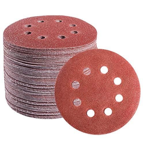 S SATC 72 PCS 5 Inch 8 Hole Hook and Loop Adhesive Sanding Discs Sandpaper for Random Orbital Sander 40 60 80 120 180 240 320 grits