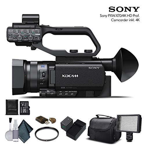 Sony PXW-X70 4K Professional XDCAM Compact Camcorder (PXW-X704K) with 16GB Memory Card, Extra Battery and Charger, UV Filter, LED Light, Case and More. - Starter Bundle