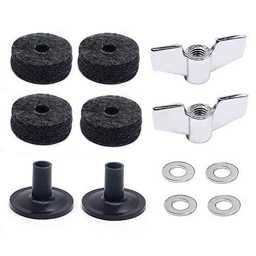 (12 Pieces)Cymbal Replacement Accessories Cymbal Felts Hi-Hat Clutch Felt Hi Hat Cup Felt Cymbal Sleeves with Base Wing Nuts and Cymbal Washer