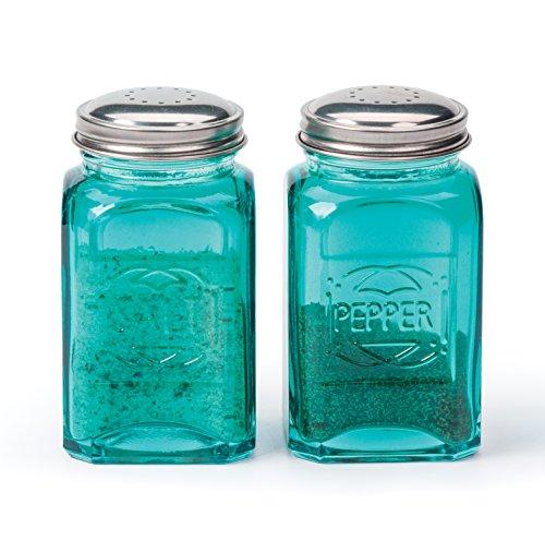 RSVP International 8 oz Retro Glass Salt & Pepper Shakers, Turquoise | Stainless Steel Lids |, 13 oz