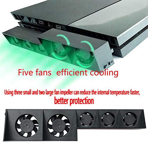 Alician for PS4 5-Fan Playstation Cooling External Turbo Temperature Control Cooler