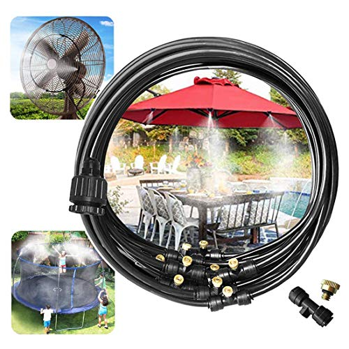 """Viya Misting Cooling System 26.3 FT(8M) with 10 Copper Metal Mist Nozzles and a Connector(3/4"""") for Trampoline Patio Misting Micro Flow Watering Automatic Distribution System (26.3)"""