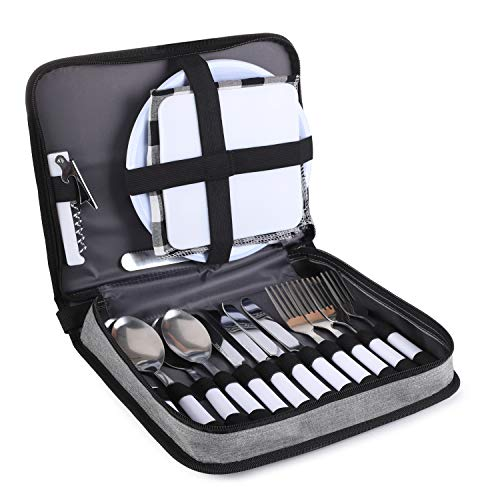TAIBID Picnic Set Camping Silverware Cutlery Organizer 4 Person Dinnerware Set - 24pcs Eating Utensils Set with ECO-friendly PS Plate Spoon & Butter Knife Wine Opener Fork Napkin (Grey & Black)