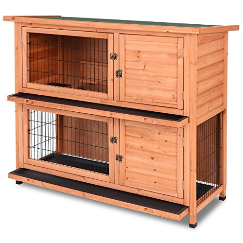 Tangkula Chicken Coop, 48' Rabbit Hutch Wooden Garden Backyard Bunny Hen House Pet Supplies with Ladder,Hen House