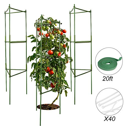 V VONTOX Garden Plant Cage Support Tomato Cage for Vertical Climbing Plants, Vegetables Cages, 3 Pack, Include Garden Ties and Nylon Cable Ties
