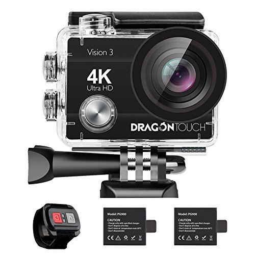Dragon Touch 4K Action Camera 16MP Vision 3 Underwater Waterproof Camera 170° Wide Angle WiFi Sports Cam with Remote 2 Batteries and Mounting Accessories Kit