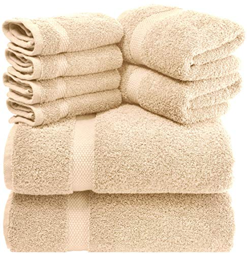 White Classic Luxury Beige Bath Towel Set - Combed Cotton Hotel Quality Absorbent 8 Piece Towels   2 Bath Towels   2 Hand Towels   4 Washcloths [Worth $72.95] 8 Pack   Beige
