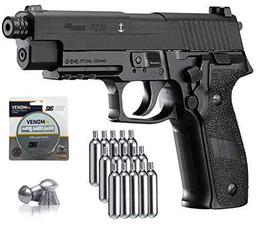 SIG Sauer P226 Air Pistol with CO2 12 Gram (15 Pack) and 500 Lead Pellets Bundle (Black)