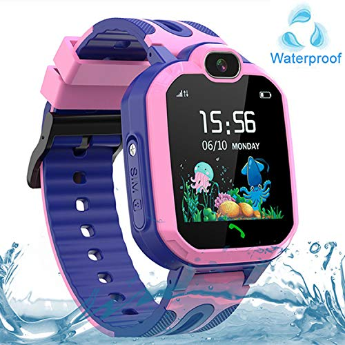Kids Smart Watch Waterproof, GPS/LBS Tracker SOS Call Smartwatch Phone for Kids 3-12 Year Old Boys Girls with Two-Way Call Touch Screen Voice Chat Game Flashlight for Birthday Christmas (Pink)