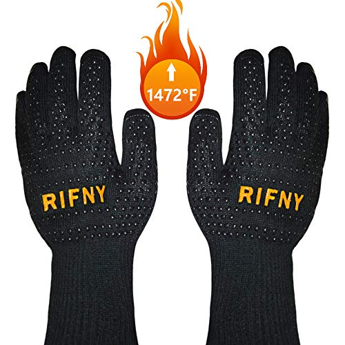 BBQ Gloves, Rifny Grill Gloves Protect to 1472°F Extreme Heat Resistant Fireproof Barbecue Oven Gloves, Kitchen Baking Gloves Non-slip Silicone Coating Universal Size for Grilling,Cooking,Black