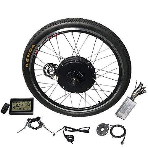Electric Bike Kit 26inch Rear Hub Motor,48V E-Bike Kit 1500W Wheel Motor Electric Bicycle Conversion Kit with 7S flywheel and LCD Display