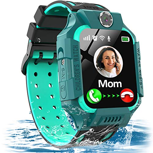Kids Waterproof Smart Watch GPS/LBS Tracker for 3-12 Years Boys Girls Smart Watch Phone with SOS Two Way Call Micro Chat Camera Anti-Lost Math Game Touch Screen Games Birthday Gifts