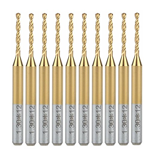 HOZLY Titanium Nitride Coated Carbide PCB CNC Drill Bits Router 1.3mm Pack of 10
