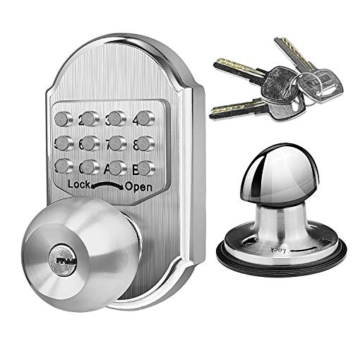 Elemake Deadbolt Door Lock, Keyless Entry Door Lock, Keyed Keypad Mechanical Door Knob, Stainless Steel Digital Combination High Security No Need Battery, Suit as Front Door Lock, Gate Lock