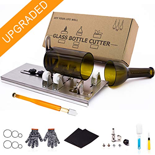Glass Bottle Cutter, Upgraded Bottle Cutting Tool Kit, DIY Machine for Cutting Wine, Beer, Liquor, Whiskey, Alcohol, Champagne, Bottle Cutter for Round, Square and Oval Bottle by KEBS_MALL