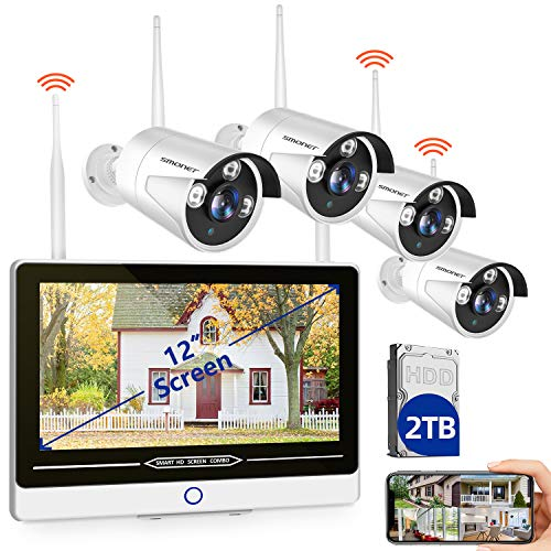 """2TB Hard Drive Pre-installedSMONET All in One with 12"""" Monitor 1080P Security Camera System Wireless,8-Channel Outdoor Home Camera System,4pcs 2.0MP(1080P) Waterproof Wireless IP Camera,P2P,Free APP"""