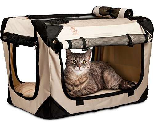 PetLuv 'Happy Cat Premium Cat Carrier Soft Sided Foldable Top & Side Loading Pet Crate & Carrier Locking Zippers Shoulder Straps Seat Belt Lock Plush Pillow Reduces Anxiety