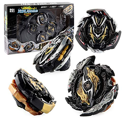 ROKK NOW Bay Battle Burst Gyro Attack Blades Metal Fusion Evolution Combination with Starter Battle Arena, Launchers & Includes 4 Battling Metal Gyro Blades Bey Battle