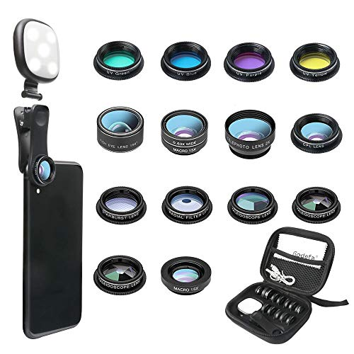 Godefa Phone Camera Lens Kit, 14 in 1 Lenses with Selfie Ring Light for iPhone Xs, Xr,8 7 6s Plus, Samsung and other Andriod Smartphone, Universal Clip on Wide angle+Macro+ Zoom Camera Lenses and More
