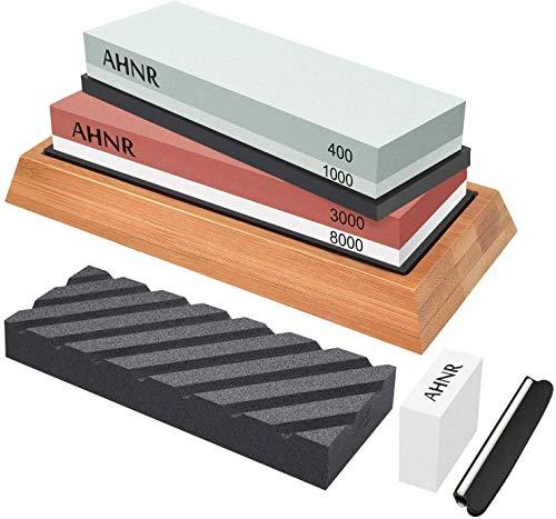 Knife Sharpening Stone Set - 4 Side Grit 400/1000 and 3000/8000 Water Stone, AHNR Premium Whetstone Sharpener Stone Kit Includes NonSlip Bamboo Base, Flattening Stone & Angle Guide