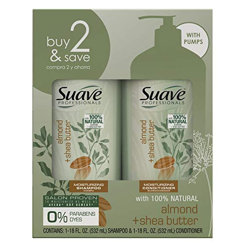 SUAVE HAIR Professionals Almond + Shea Butter Moisturizing Shampoo And Conditioner (packaging may vary)