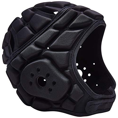 COOLOMG Soft Padded Headgear 7v7 Soft Shell Head Protector Goalkeeper Adjustable Soccer Goalie Helmet Support Rugby Flag Football Helmet Youth