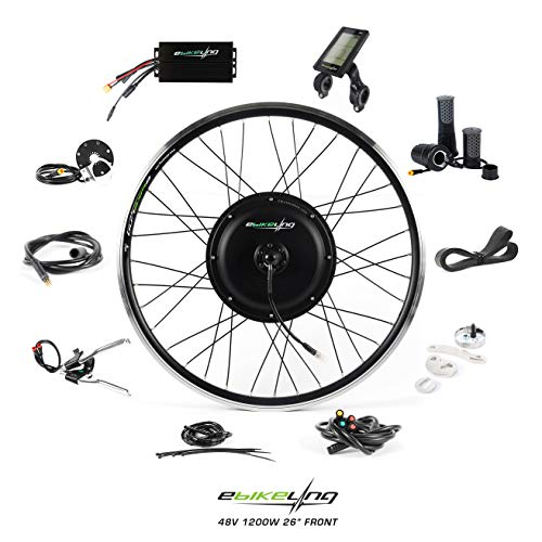 EBIKELING 48V 1200W 26' Direct Drive Front Waterproof Electric Bicycle Conversion Kit (Front/LCD/Twist)