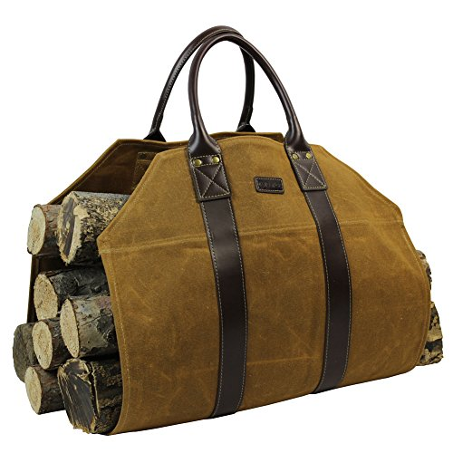INNO STAGE Firewood Log Carrier Tote Bag Waxed Canvas Fire Wood Carrying Hay Hauling Holder for Fireplace Stove Accessories Indoor Outdoor Camping