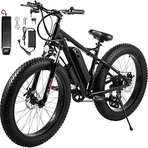 HAPICHIL Electric Bike 48V 350W Motor 10AH 7 Speed 26' Fat Tire Bike for Adults