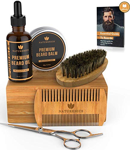 Naturenics Premium Beard Grooming Kit for Men - 100% Organic Unscented Beard Oil, Beard Balm Butter Wax, Beard Brush, Beard Comb, Beard Scissors for Beard & Mustache-with Bamboo Box & eBook