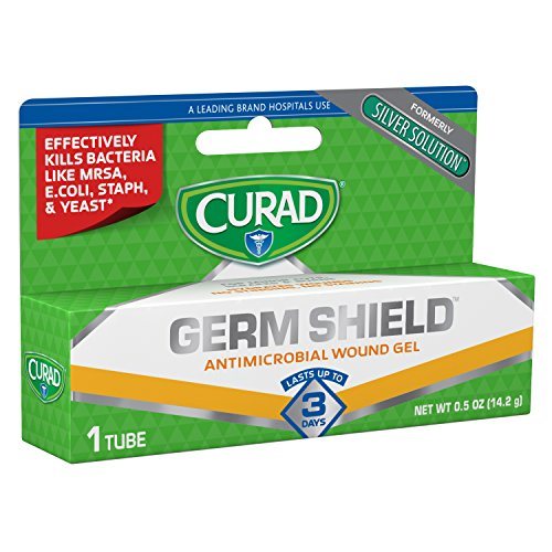 Curad Germ Shield Antimicrobial Silver Wound Gel 0.5 ounces (1 tube), for topical cuts, wounds, diabetic sores, MRSA, bacteria, fungus, yeast