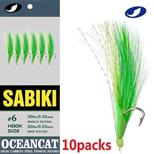 Ocean CAT 10Packs 6 Hook/Set Fishing Rigs Green Feather Fishskin String Hook Fishing Lure Saltwater Freshwater Bait Rig Tanckle 2/0#1/0#2#4#6#8#10# (Green, 8#)