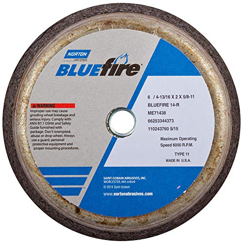 Norton 547-66253198586 Bluefire Snagging Cup Wheel44; 6 in. Dia.44; 2 in. Thickness44; 16 Grit