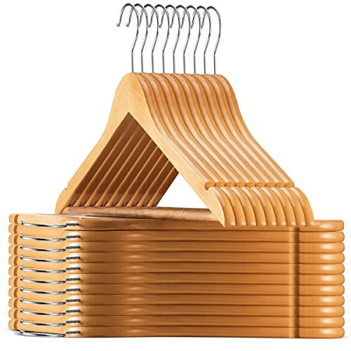 High-Grade Wooden Suit Hangers (20 Pack) - Smooth Finish Solid Wood Coat Hanger with Non Slip Pants Bar, 360° Swivel Hook and Precisely Cut Notches for Camisole, Jacket, Pant, Dress Clothes Hangers
