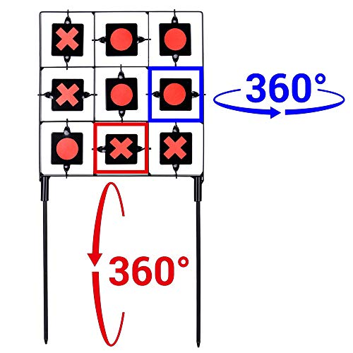 GearOZ Spinning Target for Airsoft Pellet, Tic-Tac-Toe Designed Pellet BB Gun Resetting Target
