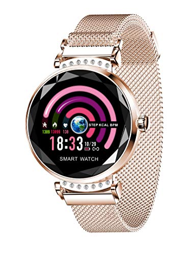 Smart Watch for Women, Fitness Tracker with Heart Rate Blood Pressure Waterproof Bluetooth Remote Camera, Smartwatch Compatible for iOS Android iPhone Samsung Phones. Best Gift (Rose Gold)