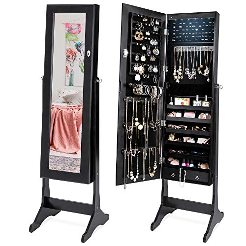 Best Choice Products 6-Tier Full Length Standing Mirrored Lockable Jewelry Storage Organizer Cabinet Armoire w/ 6 LED Interior Lights, 3 Angle Adjustments, Velvet Lining, Black