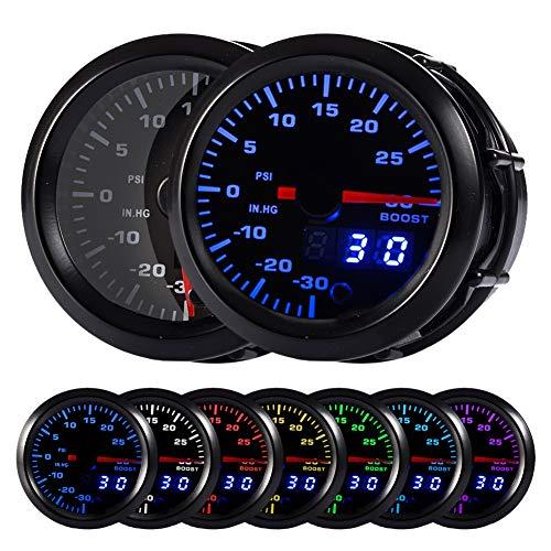 HOTSYSTEM 7 Color Turbo Boost/Vacuum Gauge Kit Pointer & LED Digital Readouts 2-1/16' 52mm Black Dial for Car Truck