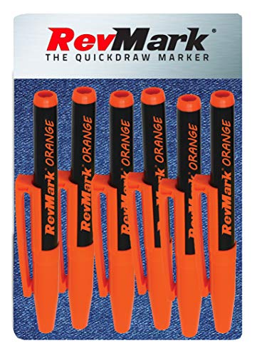 RevMark Industrial Marker - Orange Ink - Standard Tip - 6 Pack, Made in the USA. Bright Ink perfect for metal, pvc, pipe and wood. Replaces paint a marker.